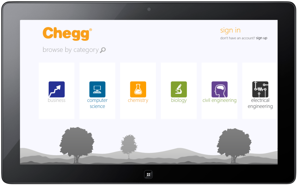 chegg on tablet